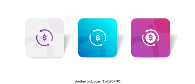 money recurring round icon in outline and solid style with colorful smooth gradient background, suitable for mobile and web UI, app button,  infographic, etc