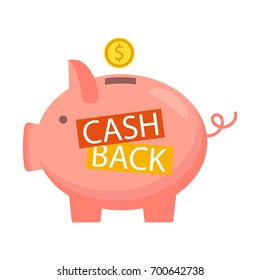 Money refund label, concept. Vector. Cash back icon isolated on background.