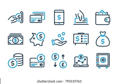 Money related line icons. Vector icon set.