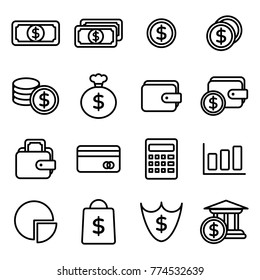 Money related vector icons. Contains such Icons as Wallet, ATM, Bundle of Money, Hand with a Coin and more