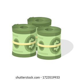 Money roll pile vector or cash stack heap and bundle with rubber flat cartoon illustration