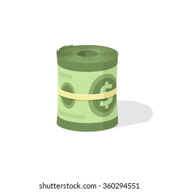 Money roll vector icon, roll of cash symbol, pile of american dollars rolled up in cylinder rounded rubber thread, illustration design isolated on white background