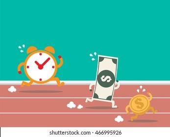 Money run against time. Flat design.