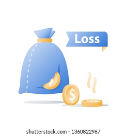 Money sack with hole and fallen coins, money loss, tear in bag, corruption concept, debt increase, lack of finance, investment fund risk, wealth devaluation, income decrease, vector icon