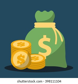 Money saving and money bag icon design, vector illustration