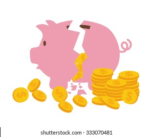 Money saving and bank business graphic design, vector illustration.