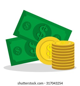 Money saving and business graphic design, vector illustration