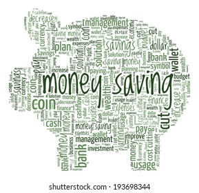Money Saving Concept Word Cloud Pig Shaped
