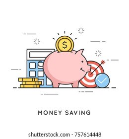 Money saving, deposit investment, budget management, economy. Flat line art style concept. Vector banner, icon, illustration. Editable stroke.