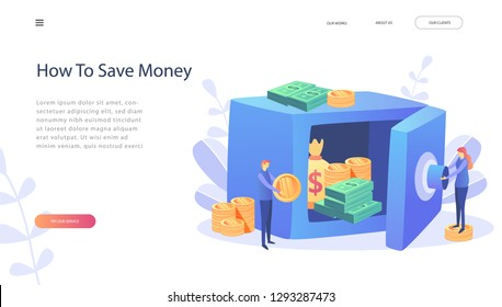 Money saving dollar coins banknotes.Business man holding money. Cash protection concept, bank safe open with dollars in a deposit box and bag, safe deposit. Concept for web site, page, presentation