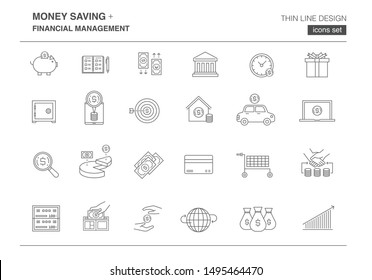 money saving and financial management icon set, thin line design