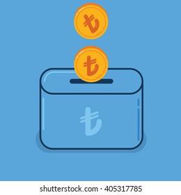 Money Saving Illustration with turkish lira coins, coin box, mini box,
