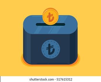 Money Saving Illustration with turkish lira coins, coin box, mini box, piggy bank