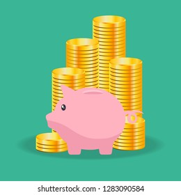 Money saving and investment in flat design . Vector illustration .