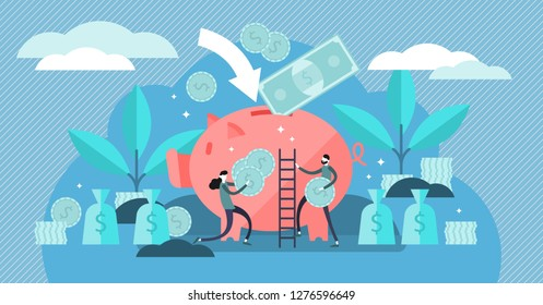 Money saving vector illustration. Flat tiny persons concept with budget piggy bank. Financial wealth symbol with cash money from savings. Investment success and safe economical fund deposit strategy.