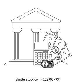 Money savings calculator black and white