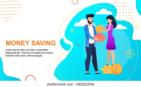 Money Savings Cartoon Text Flat Banner Template. Smiling Man Holds Piggy Bank and Happy Woman Put Cash Standing on Golden Coins Stack. Married Couple and Family Budget. Vector Metaphor Illustration