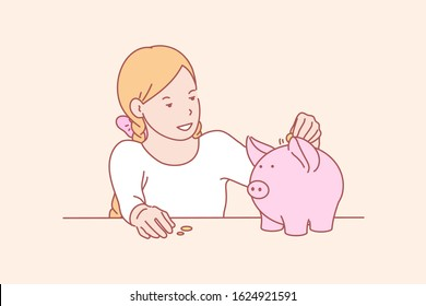 Money, savings, childhood, skill concept. Smiling little girl saving money in piggybank for shopping. Happy young lady funding future capital. Financial planning childhood education simple flat vector