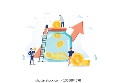 Money Savings Concept. Business People Characters Investing Money on Bank Account. Moneybox, Safe Deposit, Banking. Vector illustration. Economy, finance and banking concept. Deposit savings