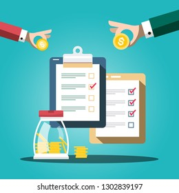 Money Savings Concept with Coins on Hands and Checklists. Modern Business in Finance Market Design.