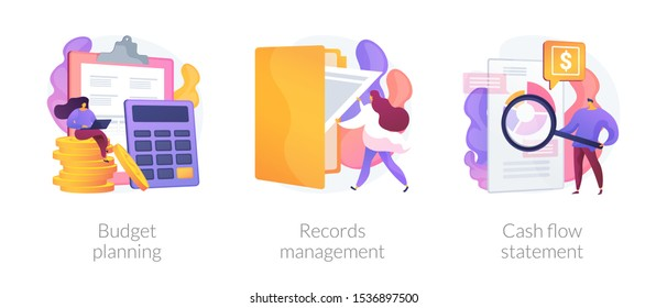 Money savings estimation, files organization system, financial report icons set. Budget planning, records management, cash flow statement metaphors. Vector isolated concept metaphor illustrations