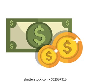Money savings and investments graphic design, vector illustration