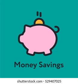 Money Savings Piggy Bank Minimal Color Flat Line Stroke Icon Pictogram Symbol Illustration