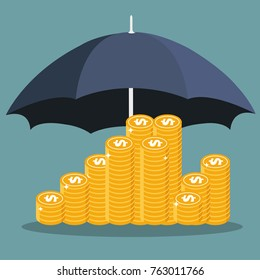 Money savings and money protection concepts. Flat vector illustration