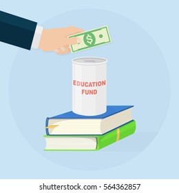 Money savings for study. Education fund. Invest for college concept. Human hand hold dollar bill, cash, currency. Stack of books, donation jar, box. Vector illustration. Flat  cartoon design.