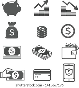 Money set icon, dollar, coin, credit card, and smartphone security.