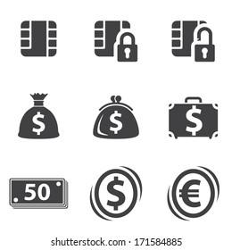Money set icon on white background. Vector