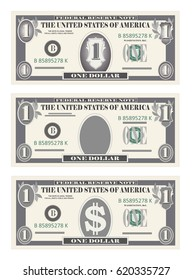 Money set, paper banknotes one dollar in gray color.  Vector in simple, flat style in three variants. Isolated on white background. Usa banking currency, cash symbol 1 dollar bill. Vertical location.