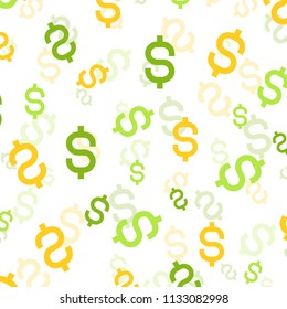 Money silhouette. Wallpaper and fabric design and decor. Vector illustration. Pattern of colorful Dolar on White Background.