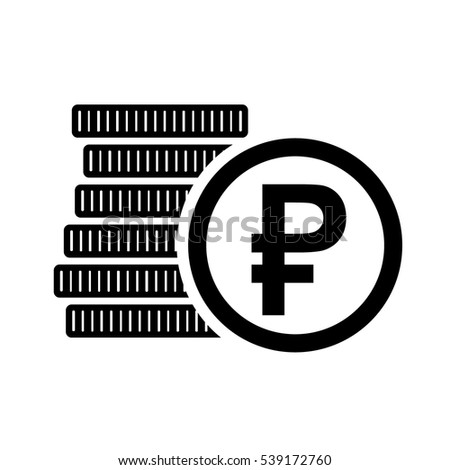 Money Six Coins Russian Ruble Icon Stock Vector Royalty Free