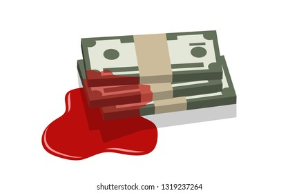 money stack dipped in blood, blood money concept