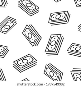 Money stack icon in flat style. Exchange cash vector illustration on white isolated background. Banknote bill seamless pattern business concept.