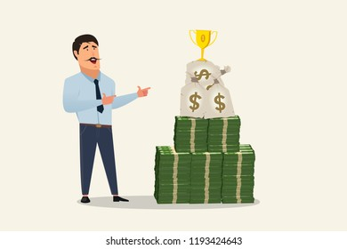 Money stack pile vector. Smiling businessman looking at money stack piled near him and some money bag over the money stack with 1st place trophy over that, showing the sign of success and profit.