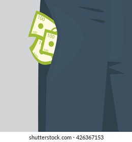 Money sticking out of the pocket of mens pants. Rich man concept.