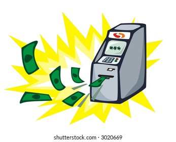 Money stream from ATM - cash machine. Vector illustration.
