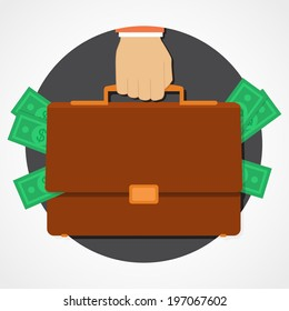 Money in suitcase flat icon