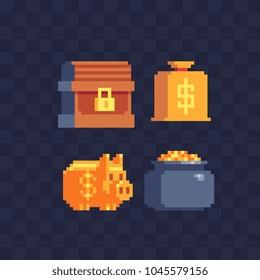 Money symbol pixel art icons set. Close chest, piggy bank, pot of gold and bag with dollar sign. Design for mobile app, web. Isolated vector illustration. 8-bit sptites.
