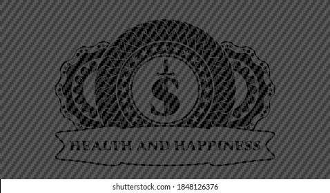 money symbol with sword icon and Health and happiness text carbon fiber dark badge. Polymer texture classic background. Vector illustration.