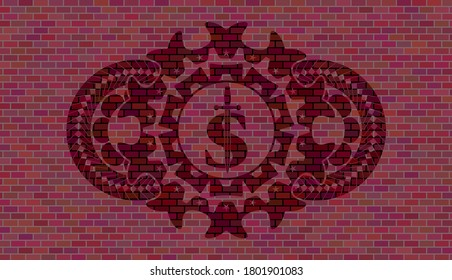 money symbol with sword icon inside red brick stone wall realistic badge. Tiles fashionable background. Artistic illustration.