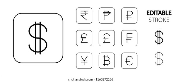 Money symbols. Money cash, banking and finance icon set. Simple outline web icons. Editable stroke. Vector illustration.