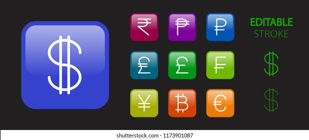 Money symbols. Money cash, banking and finance buttons. 3d icon set. Glossy colorful website icons. Editable stroke. Vector illustration.