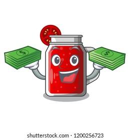 With money tasty tomato juice on cartoon table