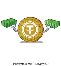 With money Tether coin mascot cartoon