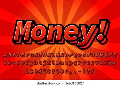 Money text with lava color alphabet text effect