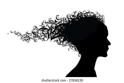 Money theme - girl silhouette with money symbols as the hair