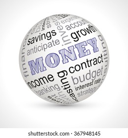 Money theme sphere with keywords full vector